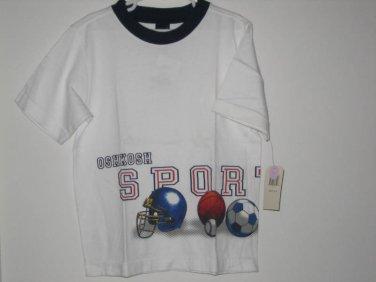 New OSH KOSH SHIRT Sz 6 SPORTS Ball Soccer Football White