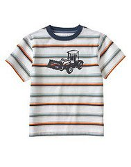 New GYMBOREE SHIRT Tops 10 Construction Ahead TRUCK Stripes White