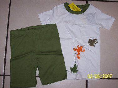 New GYMBOREE PAJAMAS PJs 7 Surf Sleep FROG Lizard Gecko Olive White Boy