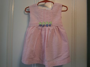 Used Samara Dress Seersucker Girl Pink 24 M 24M Months Flowers Plaid
