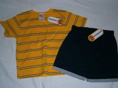 New KID CONNECTION Shirt Short Shorts SET Sz 4T Summer Stripes Yellow Blue