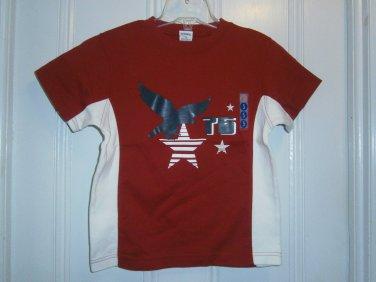 New GYMBOREE SHIRT Tops Sz 5 Red Short Sleeves Stars & Stripes Eagle Bird