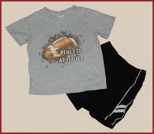 Grey Football Attitude T shirt Black Shorts 2T HCTS