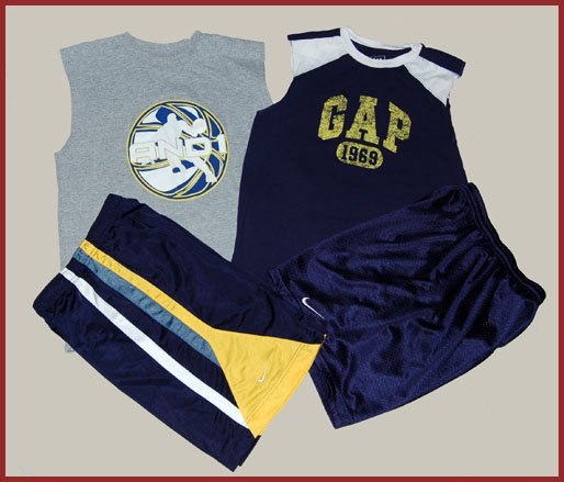 4 pc Boys GAP Nike AND1 Blue tank shorts 10 12 14 HCTS