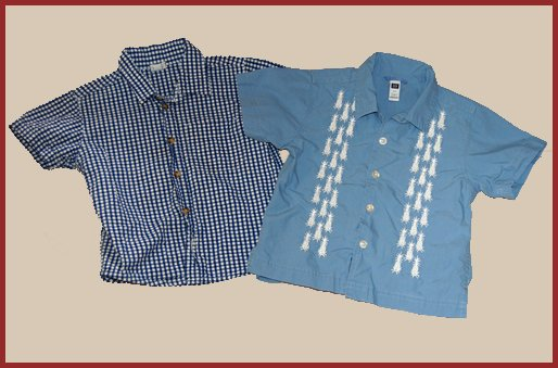 2 Baby GAP Boys button shirts plaid pineapple 2T HCTS