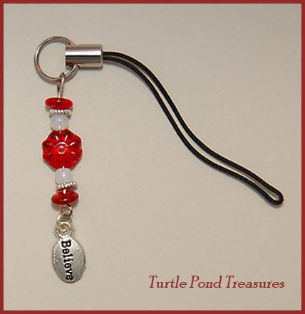 Red White silver BELIEVE beaded Cell phone charm