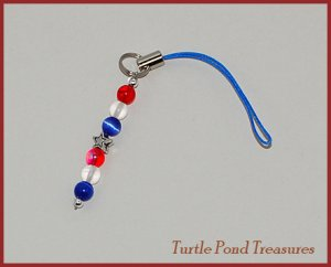 Red white blue AMERICAN STARS bead Cell phone charm