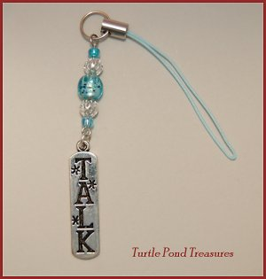 Aqua Blue silver TALK beaded Cell phone charm