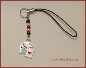 Silver cards aces POKER beaded Cell phone charm