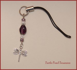 Purple Silver DRAGONFLY beaded Cell phone charm
