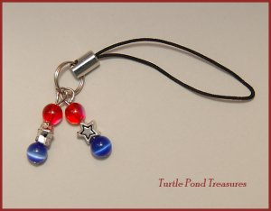 Patriotic red blue AMERICAN STARS bead Cell phone charm