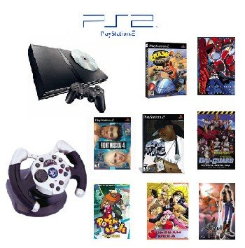 """PS2 Slim Sony Playstation 2 System """"Anime Bundle"""" - 3 Games, 5 Movies, 1 Wheel and more"""