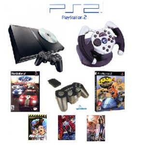 """PS2 Slim Sony Playstation 2 System """"Movie Bundle"""" - 2 Games, 1 Wheel, Wireless Controller and more"""