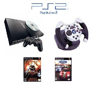 """PS2 Slim Sony Playstation 2 System """"Racing Bundle"""" - 2 Games, 1 Wheel and more"""