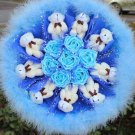 Teddy Bear Doll Cartoon Bouquet UK Sale Valentine's Day Wedding Birthdays Gift - Blue