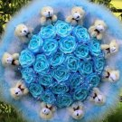 Wholesale Cartoon Bouquet Teddy Bear Doll Bouquet Valentine's Day Wedding Birthdays Gift - Blue