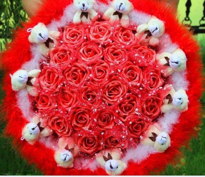 Wholesale Cartoon Bouquet Teddy Bear Doll Bouquet Valentine's Day Wedding Birthdays Gift - Red