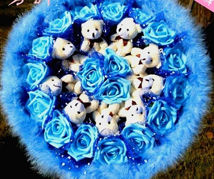 Wholesale Cartoon Teddy Bear Doll Bouquet Flower Valentine's Day Wedding Birthdays Gift - Blue