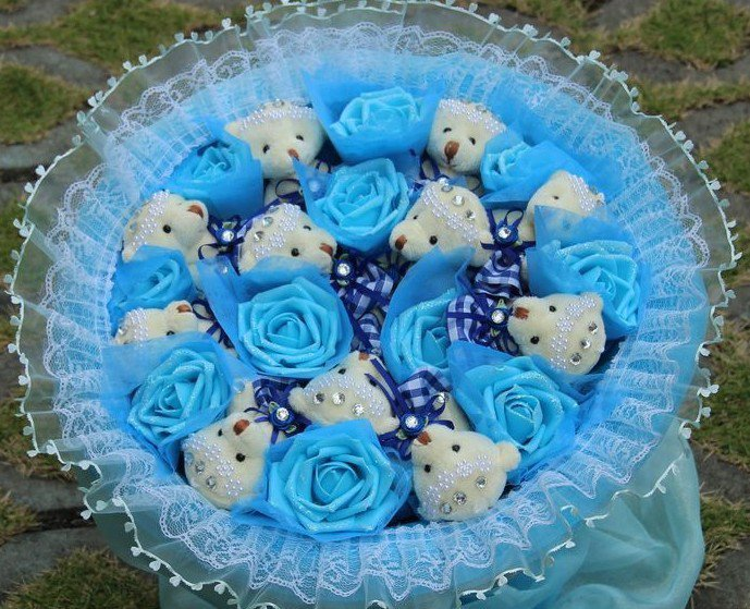 Wholesale 11 Teddy Bear Dolls 11 Roses Bouquet  Valentine's Day Wedding Birthdays Gift - Blue