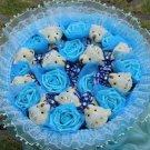 Wholesale 11 Teddy Bear Dolls 11 Roses Bouquet  Valentine's Day Wedding Birthdays Gift - Blue