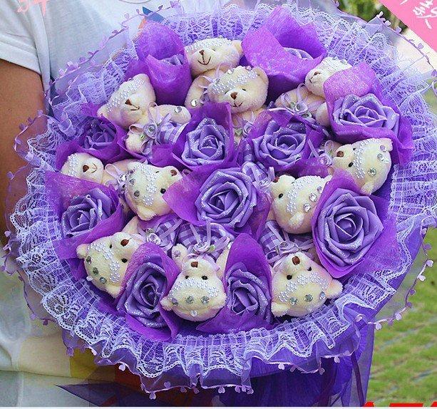 Wholesale 11 Teddy Bear Dolls 11 Roses Bouquet  Valentine's Day Wedding Birthdays Gift - Purple