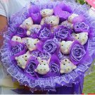 Wholesale 11 Teddy Bear Dolls 11 Roses Bouquet  Valentine's Day Wedding Birthdays Gift - Purple