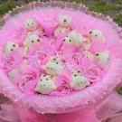 Wholesale 11 Teddy Bear Dolls 11 Roses Bouquet  Valentine's Day Wedding Birthdays Gift - Pink