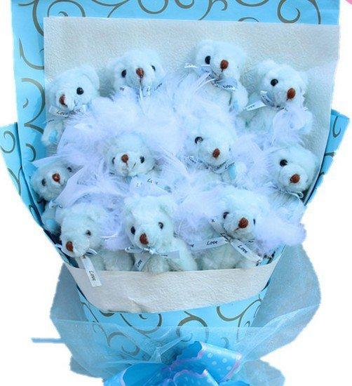 Hot Sale Teddy Bear Dolls Bouquet  Valentine's Day Wedding Birthdays Gift - Blue