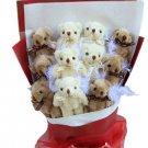 Hot Sale Teddy Bear Dolls Bouquet  Valentine's Day Wedding Birthdays Gift - Grey/White
