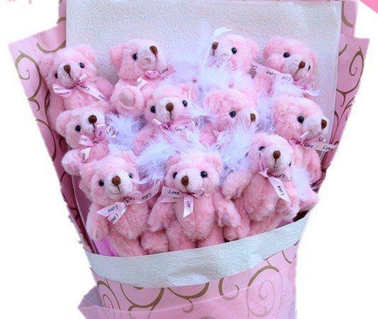 Hot Sale Teddy Bear Dolls Bouquet  Valentine's Day Wedding Birthdays Gift - Pink