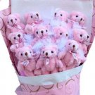 Hot Sale Teddy Bear Dolls Bouquet  Valentine's Day Wedding Birthdays Gift - Pink