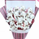 Plush Teddy Bear Dolls Bouquet  Valentine's Day Wedding Birthdays Gift - White