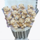 Plush Teddy Bear Dolls Bouquet  Valentine's Day Wedding Birthdays Gift - Grey