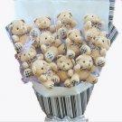 Plush Teddy Bear Dolls Bouquet  Valentine's Day Wedding Birthdays Gift - Grey