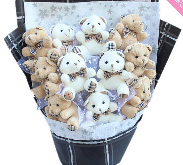 Plush Teddy Bear Dolls Bouquet  Valentine's Day Wedding Birthdays Gift - White/Grey