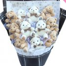 Plush Teddy Bear Dolls Bouquet  Valentine's Day Wedding Birthdays Gift - White/Grey
