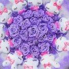Romantic Gift Love Rabbit Doll Bouquet Valentine's Day Wedding Birthdays Gift - Purple