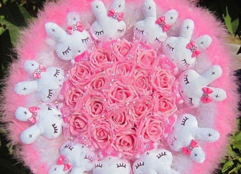 Romantic Gift Love Rabbit Doll Bouquet Valentine's Day Wedding Birthdays Gift - Pink