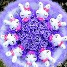 Catoon Bouquet Love Rabbit Doll Bouquet Sale Valentine's Day Wedding Birthdays Gift - Blue