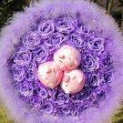 New Romantic Pig Bouquet for Wedding,Valentine, Birthday Gift- Purple
