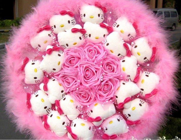 New Style Hello Kitty Bouquet Girls Birthday Gift Valentine Gift Wedding Gift - Pink