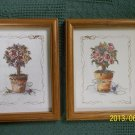 """SET OF (2) GENUINE 9.5"""" X 11.5"""" WOODEN FRAMES..THEME..""""FLOWER TREES IN CLAY POT"""""""