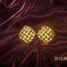 Vintage High End Lattice Pattern Pierced Earrings