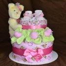 [SOLD] Cherry Bear Diaper Cake + shoes (girl)