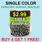 Single Color Paracord Bracelet $2.99 FREE Shipping! Buy 4 get 1 FREE! Custom Sizes and Colors