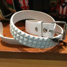 White Leather White Studded Spike 3Row Pyramid Snap On Belt Silver Buckle Large