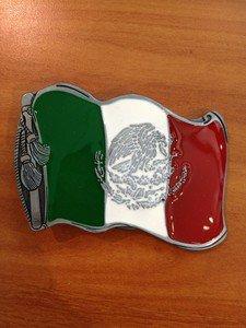 MEXICAN FLAG BELT BUCKLE VIVA MEXICO BUCKLES