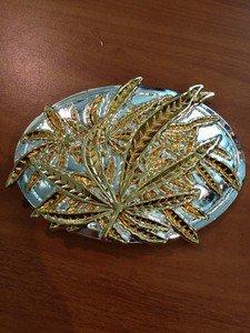 Belt Buckle Weed Pot Leaf Marijuana