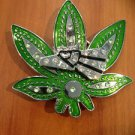 Belt Buckle Weed Pot Leaf Marijuana Eagle Spin With Stones