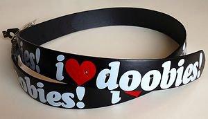 "I Love Doobies Black Leather Belt Mens/Womens Roller Buckle Sz XL 42""44"""